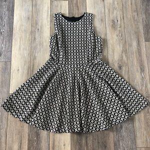 Cynthia Rowley Black White Skater Flare Dress L